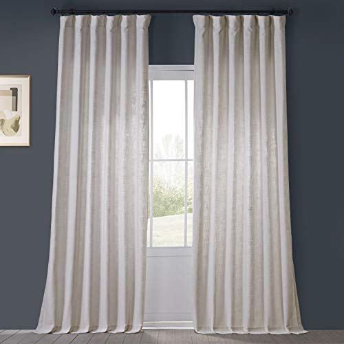 HPD Half Price Drapes FHLCH-VET13191-108 Heavy Faux Linen Curtain (1 Panel), 50 X 108, Rice White