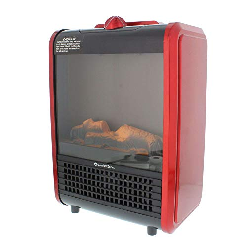 CCC Comfort Zone Mini Ceramic, Electric Fireplace Stove   Red, 3D Fan-Forced...