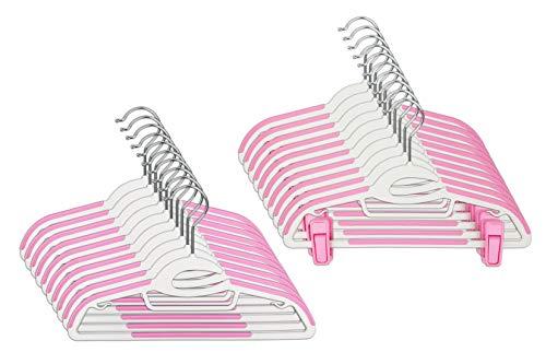 CORTEC Kinder Kleiderbügel 20 Stück, Kombi-Bügel für Kinder aus Kunststoff, Klammern, S-Form-Öffnung, Anti-Rutsch, platzsparend, 0,5 cm dick, 31,5 cm breit, Weiß Pink