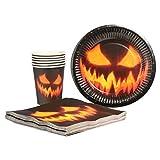 com-four® 32-teiliges Halloween Dekoset mit 100g Spinnennetz, Spinnen, Bechern, Teller, Servietten und Tischtuch für Halloween, Fasching und Mottopartys (032-teiliges - Halloweenset) - 3