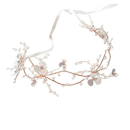 Diadème Cheveux Couronne de mariage Golden Leaf Headband Pearl Hairwear Coiffure Fleur Couronne De Diadème De Mariée