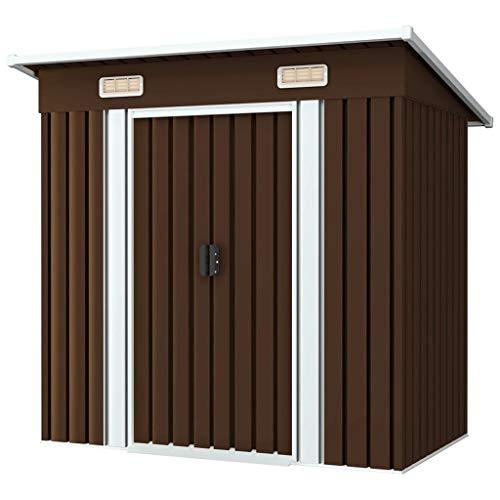 194x121x181 cm Caseta de Jardín Galvanizado Metal con 2 ventilaciones de Almacenamiento al Aire Libre