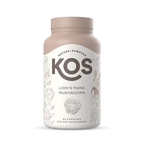 KOS Organic Lions Mane Mushroom Capsules - Lion's Mane Mushroom Powder - Natural Nootropic, Supports Memory & Focus, Immunity Booster - Potent Mushroom Supplement - 1500 mg, 90 Capsules