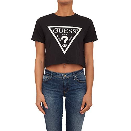 Guess Camiseta para Mujer, sin Barriguita - Crop-Top, Logotipo Impreso, Cuello Redondo, Manga Corta, Algodón