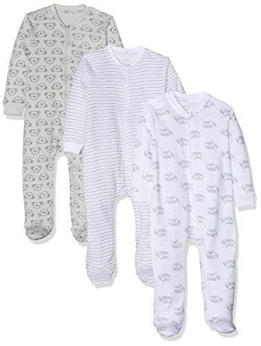Amazon Exclusive: Care Baby Strampler mit Zip im 3er Pack, Grau (Harbor Mist 190), 56