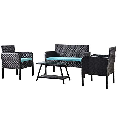 DTOWER 4 Pcs/Set Rattan Sofa with Cushions Outdoor Patio Courtyard Rattan Braided Sofa Chair Table Set