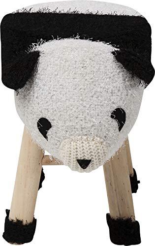 Kare Kruk Funny Sheep, kleine ronde kruk, witte pluizige overtrek met opgenaaid gezicht, schattige emel voor kinderkamer (hxbxd) 35 x 40 x 27 cm, 100% polyester, bruin