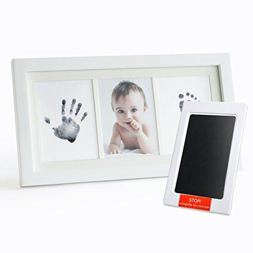 Up & Raise Premium - Kit de marco de fotos de tinta para bebé y huella de mano – limpio y elegante | Cristal elegante/madera maciza | Regalo perfecto para recién nacidos y niños