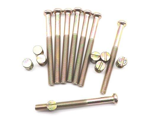 M8 x 90mm Bed Bolt Crib Screws, binifiMux 8 Set Zinc Plated Hex Drive Socket Cap Furniture Barrel Screws Bolt Nuts