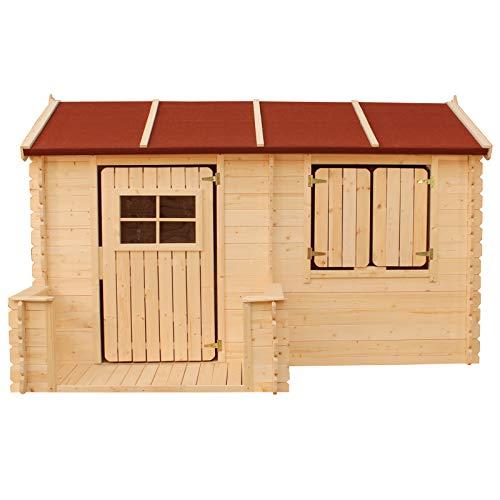 Gartenpirat Kinder-Spielhaus Annika Natur 235x170 cm mit Boden aus Holz unbehandelt
