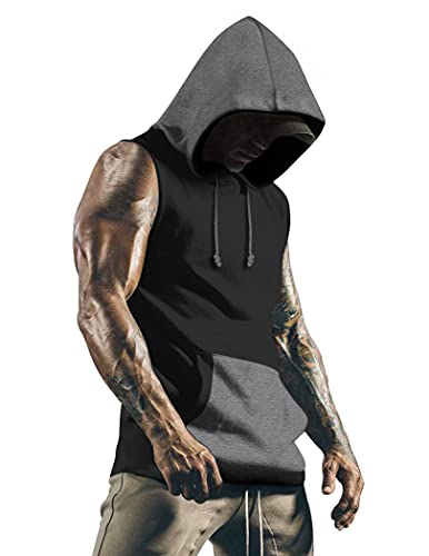 COOFANDY Men's Muscle Tank Top Workout Training Shirt with Hoodies Black