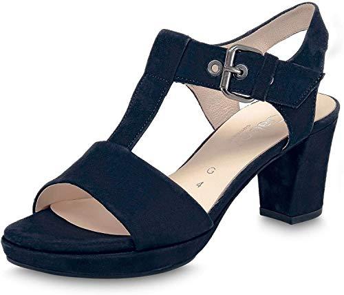 Gabor Comfort 42.394-26 Damen Sandaletten aus Leder mit 45-mm-Absatz Weite G, Groesse 40, blau