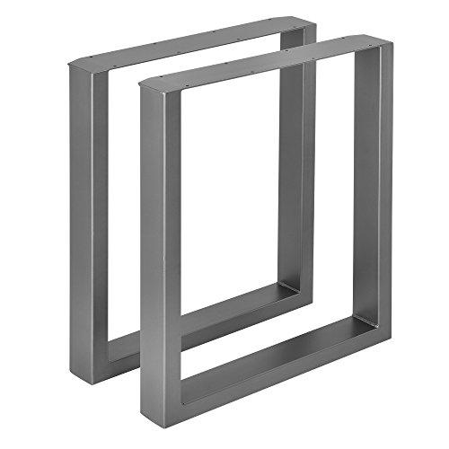 [en.casa]] 2X Tischgestell - 60 x 72cm Stahlgrau - Esstischgestell Tischuntergestell Tischkufen Tischbein