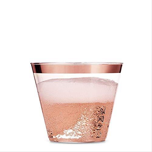 Juego de vasos desechables de plástico con borde de oro rosa para broncear la copa de plata para bodas y fiestas