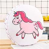 Impresión Ronda Almohada fantasía de dibujos animados Animales unicornio Bear Cat Ice Cream Helado de Palo piso de los asientos cojín del sofá Decoración Almohada niñas ( Color : Pink unicorn )