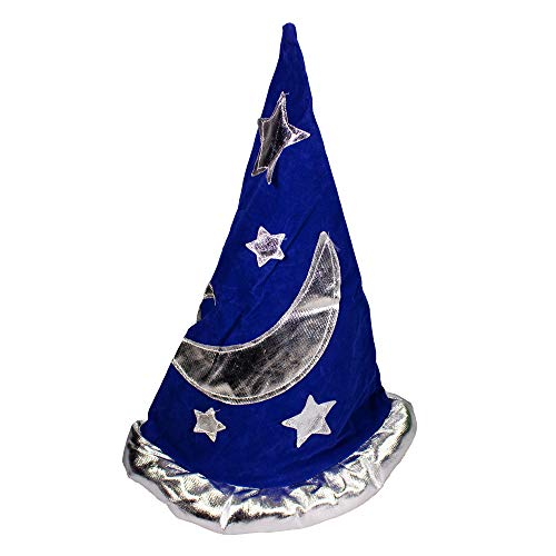 Blue Velvet with Silver Star Magical Potter Wizard Party Hat