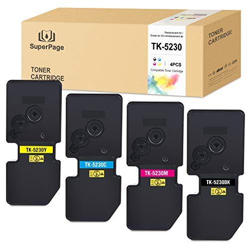 4 Superpage Kompatibel für Kyocera TK5230 TK-5230 Multipack Toner für Kyocera Ecosys M5521cdn M5521cdw P5021 P5021cdn P5021cdw P5021Series(1Schwarz/1Cyan/1Magenta/1Gelb)