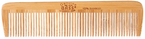 Bass Brushes   Grooming Comb   Premium Bamboo Teeth and Handle   Pocket Style   Dark Finish   Model W4 - DB