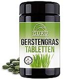 Guru Bio Gerstengras Tabletten - 240 Presslinge à 500 mg - Nahrungsergänzung - 100% pflanzlich, vegan - in lichtgeschützter, ultravioletter Glasdose