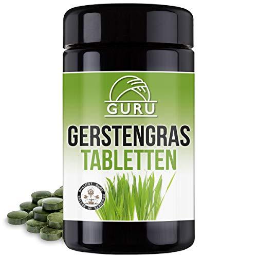 Guru Bio Gerstengras Tabletten - 240 Presslinge à 500 mg - Nahrungsergänzung - 100{a5426d11594de34bf7cc28af477446893a8717e4242fb7ebeca069701247dee8} pflanzlich, vegan - in lichtgeschützter, ultravioletter Glasdose