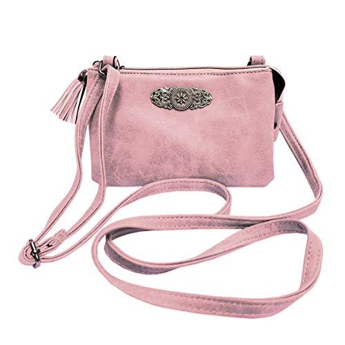 Trachtentasche Dirndltasche kleine Umhängetasche Kunst-Leder rosa