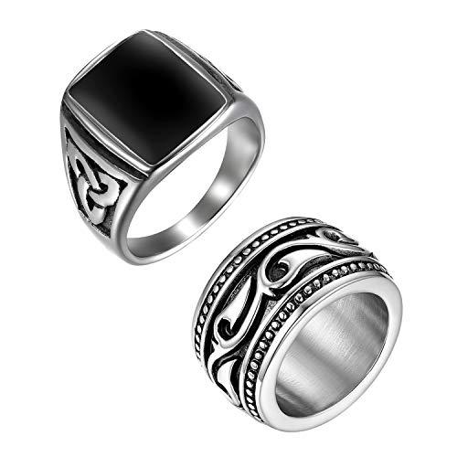 OIDEA Ringe für Herren Männer Biker Ringe, 2PCS Celtic Retro Charm Punk Rock Herrenring Edelstahlring Bandring Edelstahl Silber, Ringgrößen 59...
