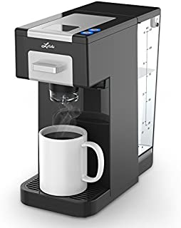 Litchi Single Serve Coffee Maker for Most Single Cup Pods Including K Cup Pods, Ground Coffee, 40 OZ Detachable Reservoir, 4 OZ, 8 OZ or Customized Brew Size (black)