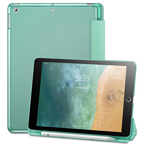 Infiland iPad 9.7 2018 Translucent Frosted Back Case Cover with Apple Pencil Holder Compatible with Apple iPad 9.7inch (6th Gen) 2018 (Mint Green)