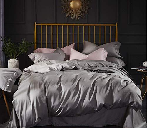 LITHAPP 60 Tribute Coton Satin à Longues Fibres 4 PièCes Coton 1,8M Lit Double Couleur Unie Housse De Couette Textile De Maison,Grey-1.5mbed