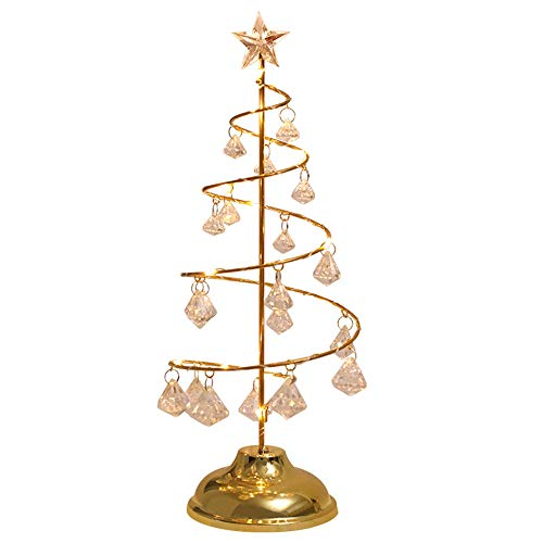 BIOBEY Tabletop Lamps Crystal Christmas Tree Lamp Home Decorative Lights Battery Operated Night Light for Bedroom Living Room Party Wedding