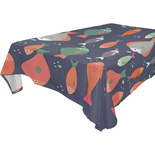 Coosun rectangle Poisson Motif Nappe pour fête de mariage Vacances lavable Housse de nappe Polyester, 137,2 x 137,2 cm, Polyester, Multicoloured, 54x72(in)