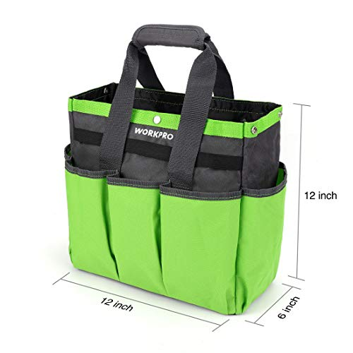 WORKPRO Garden Tool Bag, Garden Tote Storage Bag with 8 Pockets, Home Organizer for Indoor and Outdoor Gardening, Garden Tool Kit Holder (Tools NOT Included), 12