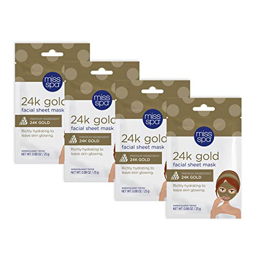 Miss Spa Illuminating 24K Gold Facial Sheet Mask Set, Antioxidant-Rich Peptides, Hydrated Glowing Complexion, Anti-Aging, Anti-Wrinkle, Skin Care for Women, 4-Pack