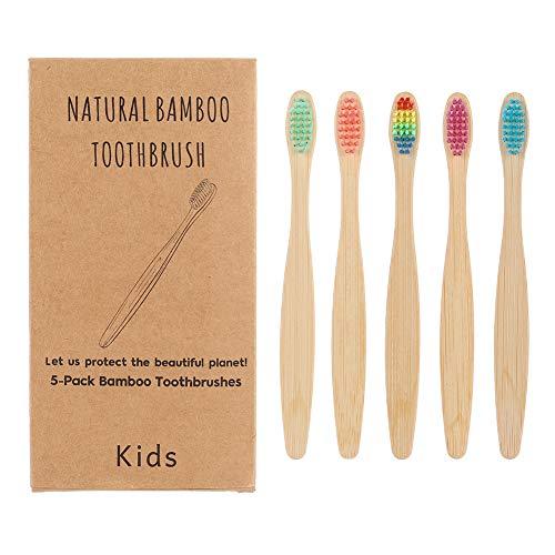 hicloud 5 Stück Bambus Zahnbürste Holzzahnbürste für Kinder Weich Hart Hydrophil Umweltfreundlich Biologisch Abbaubar
