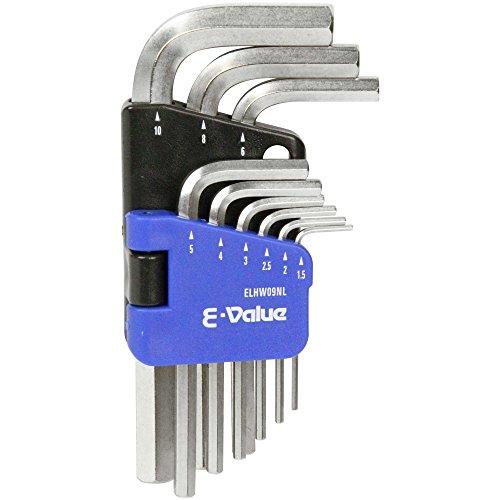 E-Value 六角棒レンチセット ミリ 1.5・2・2.5・3・4・5・6・8・10mm 9本組 ELHW09NL