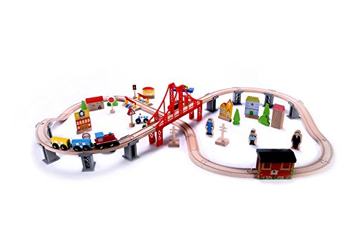 Wooden Train Set - 70 pc - Classic Toy Train Tracks & Accessories, Magnetic Train Cars for Toddlers & Older Kids - Compatible w/Thomas Tank Engine, Melissa & Doug, Brio, Chugginton Train Sets