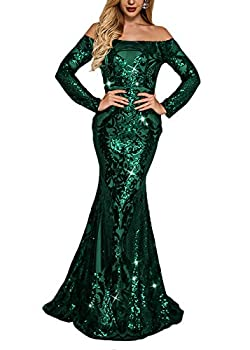 Yissang Women s Off Shoulder Floral Sequined Party Wedding Evening Mermaid Maxi Long Dress Prom Gowns Green X-Large