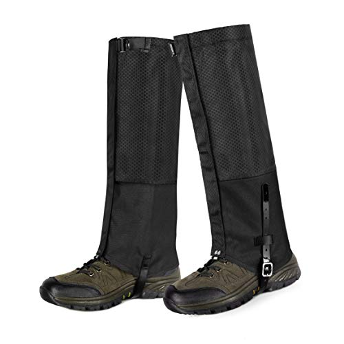 Unigear Leg Gaiters Waterproof Snow Boot Gaiters, Abrasion Resistance for Outdoor Hiking, Hunting, Ice Climbing, Skiing (Black, XL)