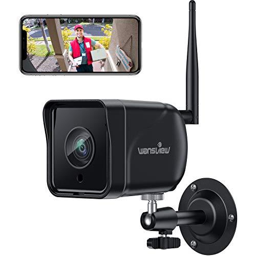 Wansview Überwachungskamera Aussen, WLAN IP Kamera 1080P Outdoor WiFi mit IP66 wasserdichte, Bewegungserkennung, Zwei Wege Audio, ONVIF und RTSP Protokoll und funktioniert mit Alexa W6 Schwarz