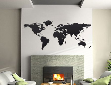 Adesivo decorativo da parete, motivo: Planisfero (LARGE 200 CM. X 100 CM.)