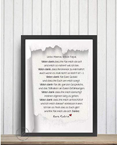 Brief und Danke an Mama Papa Freund/in Schwester geliebten Menschen Print Poster Druck Anfertigung Geschenk