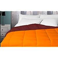 Energy Colors Textil - Hogar - Praha - Relleno Nórdico 350 gr Reversible Liso Tacto Pluma Otoño- Invierno (Naranja - Marrón, Cama 90 (150 x 220 cm))