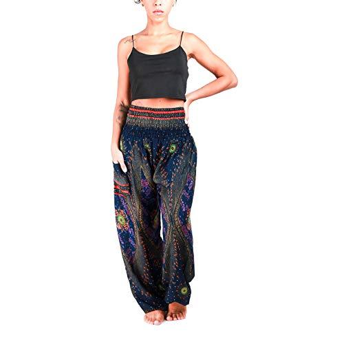 Atiya 100% Rayon Tie-Dye Multicolor with Pattern Unisex Smocked Waist Harem Pants, Hippie Yoga Boho Summer Beach Casual Style (Firework Peacock Dark Blue)
