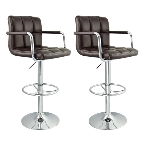 Rotating Bar Stools with Arms in Brown