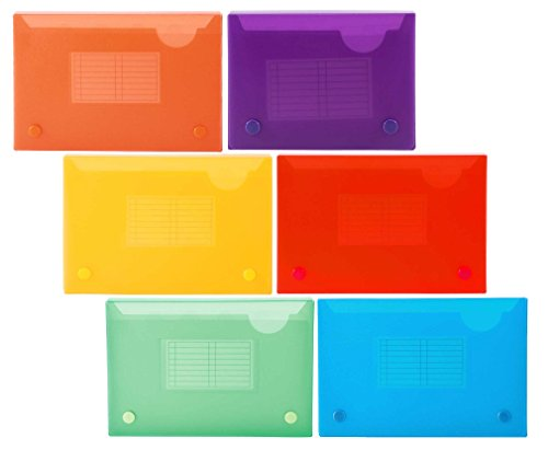 Filexec 5 x 8 Inch Index Case, Snap Button Closure, 5 Index Dividers, Assorted (Pack of 6) (50101-2091)