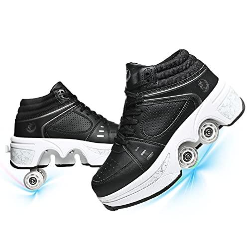 Doble Rodillo Patines De Ruedas para Ninos Parkour Invisible De Polea De Zapatos Zapatillas De Deporte Luz De Skate Zapatos Ajustables