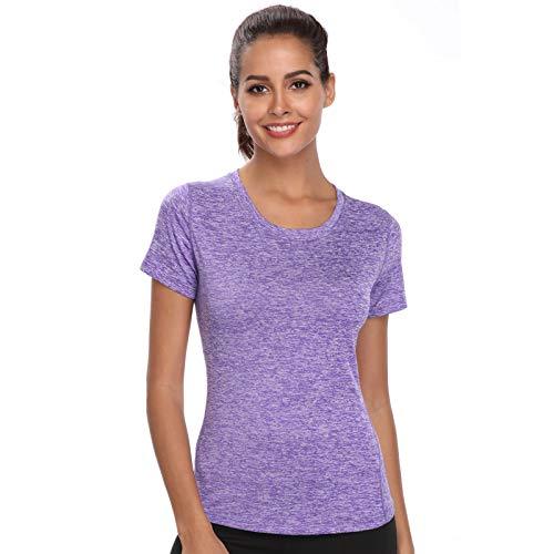 Joyshaper Camiseta de entrenamiento para mujer, yoga, fitness, de secado rápido, compresión deportiva morado S