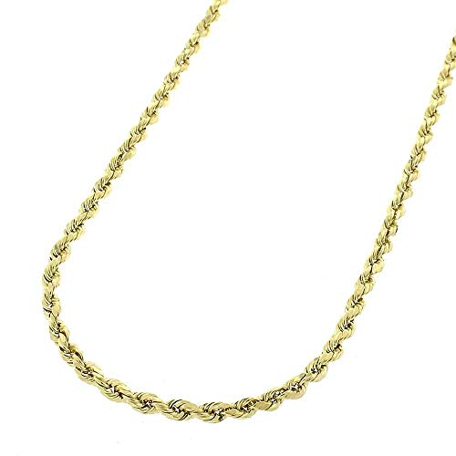 10K Gold 2MM 3MM 4MM Diamond Cut Rope Chain Necklace for Men and Women- Braided Twist Chain Necklace, 10K Gold Necklace, 10 Karat Gold Chain, Sizes 16-35