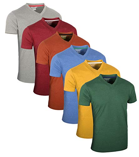 FULL TIME SPORTS® Tech 6 Pack FTS-639 mit V-Ausschnitt T-Shirts (Large, Pastelle Sortiert)