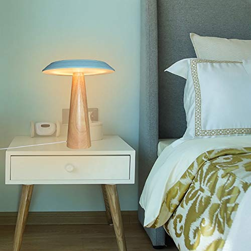 VIWIV Lámpara de Escritorio Lámpara nórdica Dormitorio mesita de Noche lámpara Creativa Simple Moderna Sala de Estar sólido Madera Personalidad Decorativa Setas lámpara de Mesa 25 * 34 cm